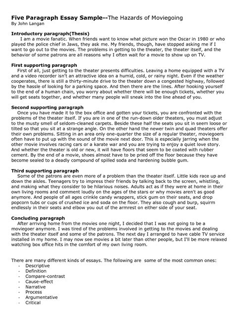 Writing 5 Paragraph Essay Example