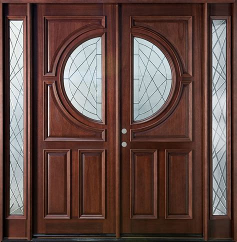custom solid wood double entry door design with narrow window and fiberglass insert ideas