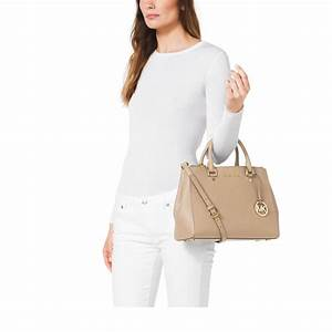 9b063ae400ad12 lyst michael kors sutton medium saffiano leather satchel in natural