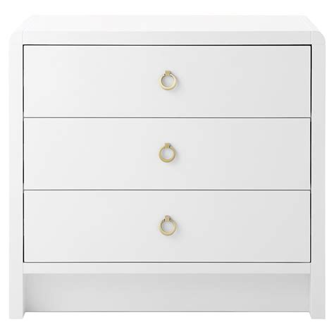 Modern White Lacquer Nightstand by Westby Modern White Lacquer Gold Ring Wood Nightstand