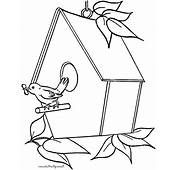 Bird Singing In Front Of House Coloring Pages  Best