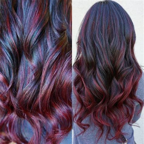 braun mit kupfer strähnen dunkelbraune haare mit roten spitzen