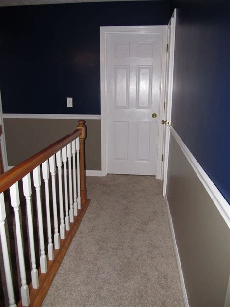remodeled upstairs hallway  bold colors   chair