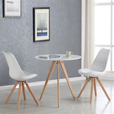 table cuisine 2 personnes table à manger ronde scandinave blanche 80cm oslo