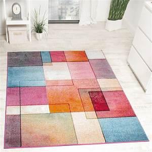 tapis de createur moderne colore motif a carreaux With tapis colore moderne