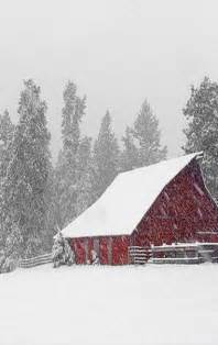 Winter Snow Storm Pictures of Barns