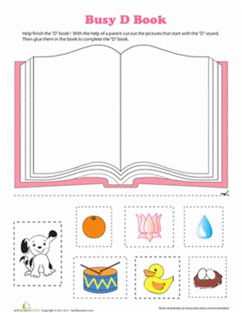 d book worksheet education