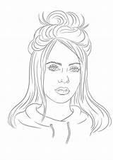 Billie Eilish Coloring Pages Printable Cute Hair Rysunki Fanart Print Fan Draw Kolorowanki Szkice Zapisano Twitter Postaci sketch template