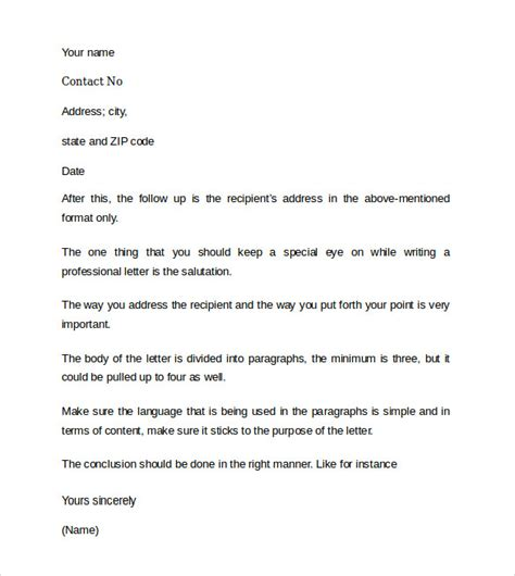 Professional Letter Template Sle Professional Cover Letter 8 Documents
