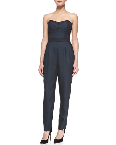 bustier jumpsuit milly strapless twill bustier jumpsuit in blue lyst