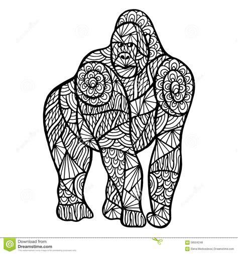 stylized monkey zentangle stock vector image