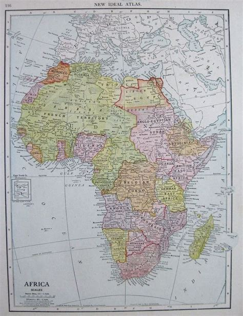 Complemented by the wildly colorful background as the sunset paints the cloud adorned african sky. 1910 Antique AFRICA Map of Africa Gallery Wall Art ...