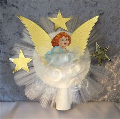 vintage  spun glass scrap angel  foil wings