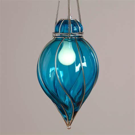 blue glass venetian pendant midcentury pendant