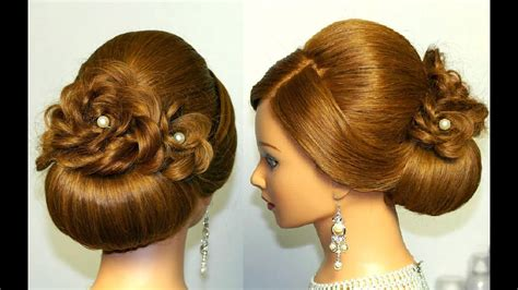 bridal hairstyle for hair updo tutorial with braided flowers youtube