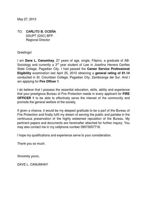 application bureau application letter for