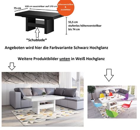Designer Couchtisch Schwarz by Design Couchtisch Hlu 111 Schwarz Hochglanz Schublade
