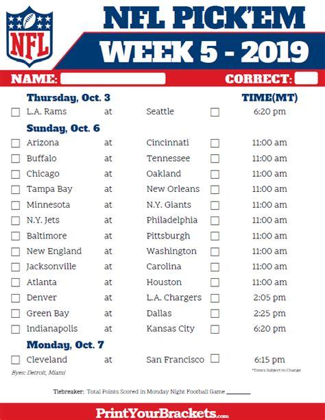 mountain time week  nfl schedule  printable