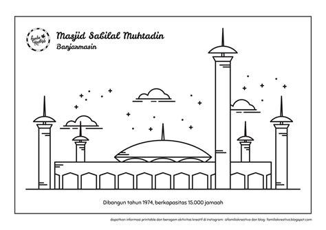 lomba mewarnai gambar mewarnai masjid dan orang