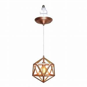 Worth home products light copper finish screw in pendant