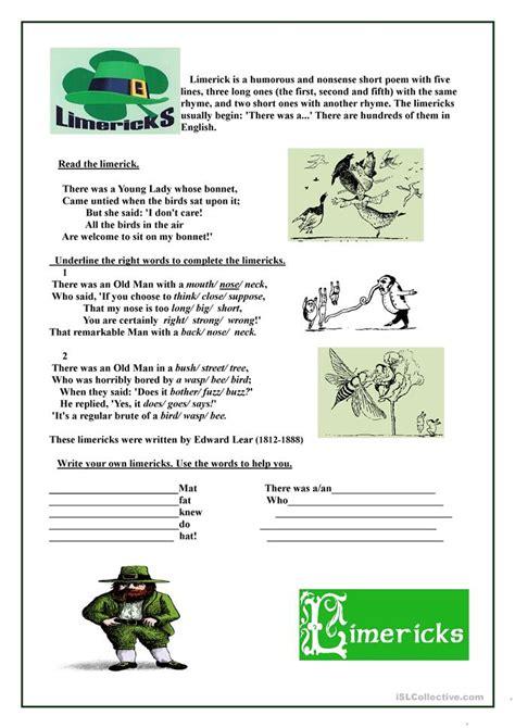 6 free esl limericks worksheets