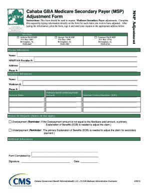 medicare secondary payer adjustment form part b fill
