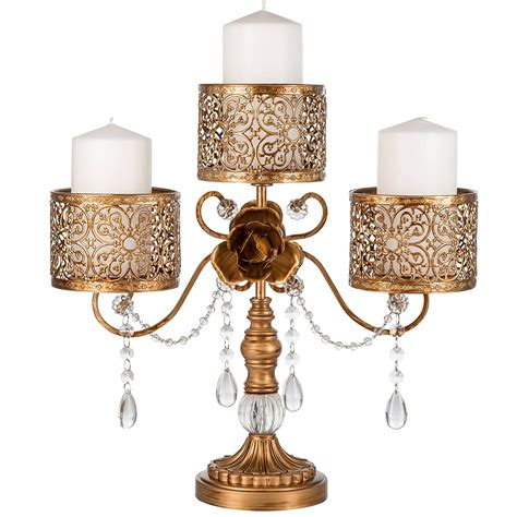 Antique Look Candelabra With Scroll Work Detail And Rose