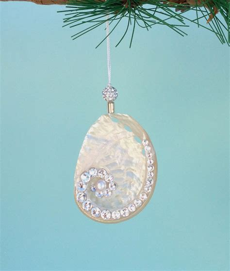 beach christmas ornament silver abalone seashell with