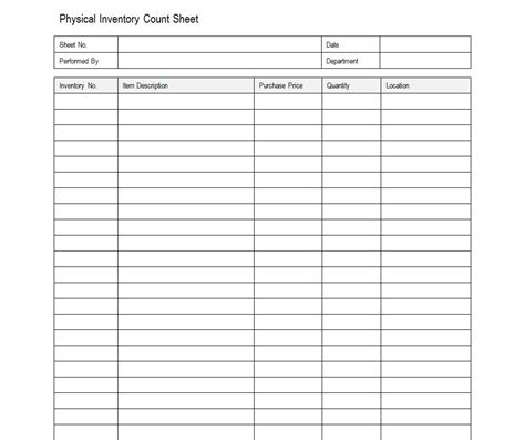 Sample Inventory Sheet  Inventory Sheet Sample