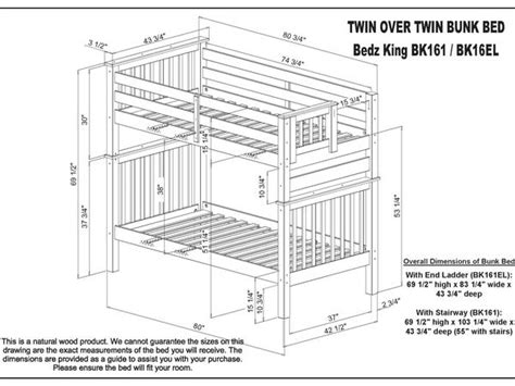 Bunk Bed Dimensions by Bunk Beds Honey 2 Drawers 476 Bunk Bed King