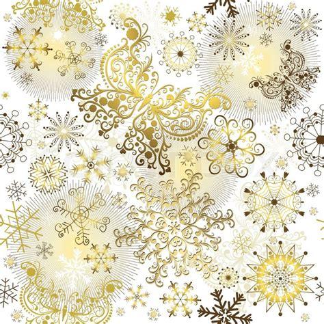 Background Gold Snowflake Seamless Wallpaper by Seamless White Pattern With Golden Snowflakes