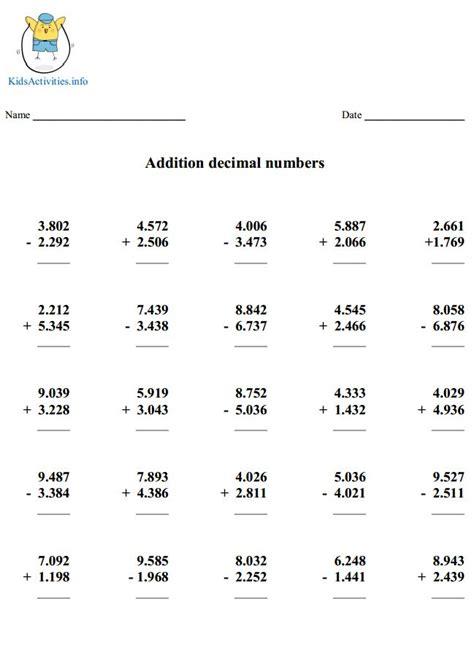 decimal worksheets 5th grade worksheets for all