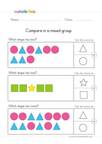 comparing worksheets  preschool pre   comparison