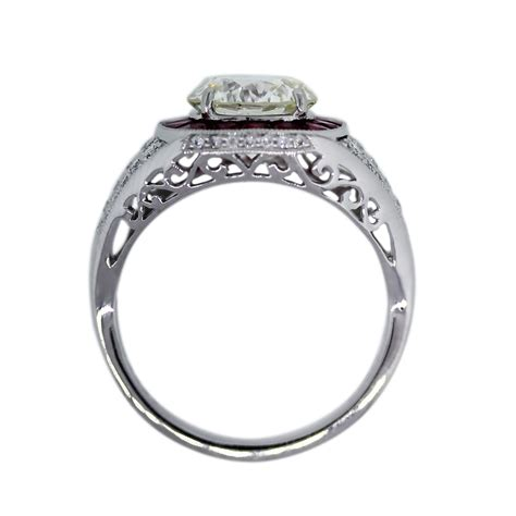 platinum certified 2 19ct and ruby engagement ring