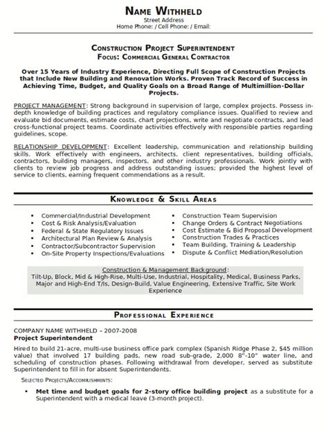 construction experience resumes resume sample 23 construction superintendent resume