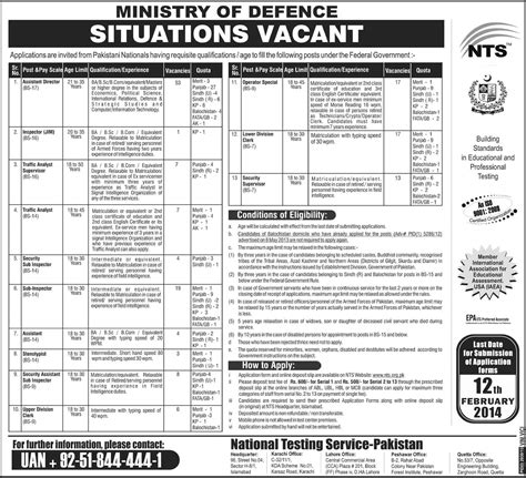 ministry of defence 2014 nts application form in pakistan 19 jan 2014