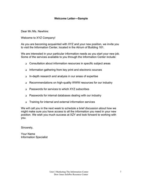 Welcome Letter - download free documents for PDF, Word and