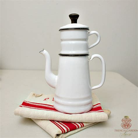 antique french enamel white coffee pot biggin
