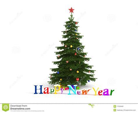 happy new year christmas tree stock illustration