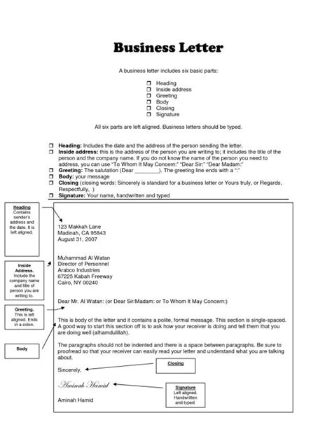 business letter heading examples proper