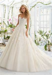 brautkleid princess embroidery on classic tulle wedding dress style 2808 morilee