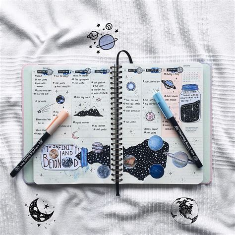 bullet journal stifte space spread for bullet journal astronomy p l a n
