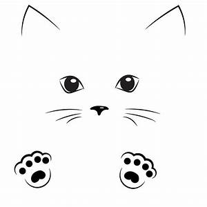 U0026quot, Black, Outline, Drawing, Cat, Face, With, Paws, U0026quot, By, Alexx60