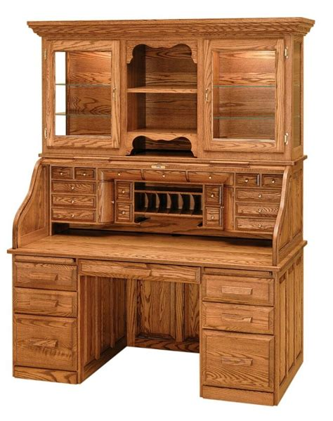 luxury amish rolltop desk hutch office furniture solid