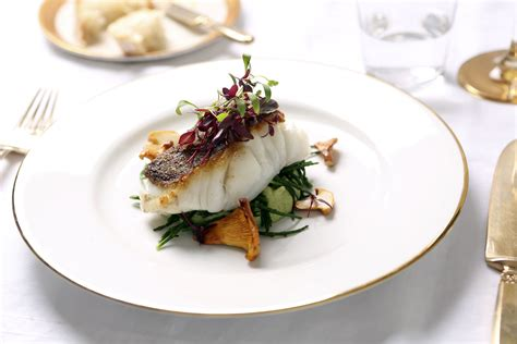 Plated Dinner Party Main Course (roast Fillet Of Cod With