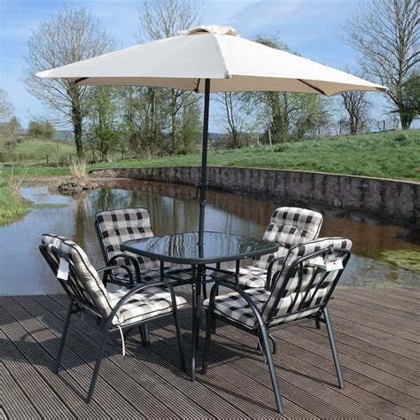 Garden Patio Furniture Sets by 4 Seater Garden Patio Furniture Set Outdoor Table Parasol