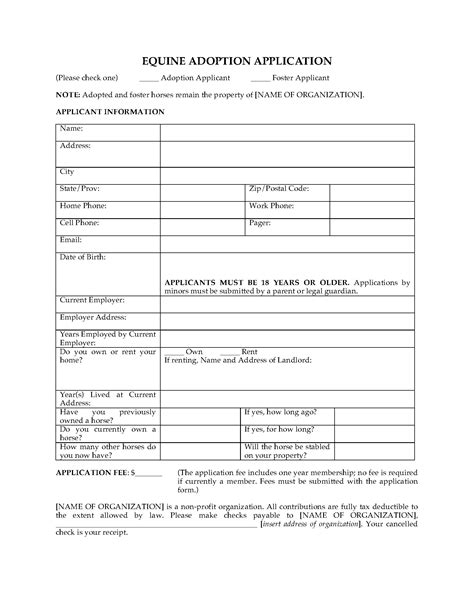Equine Adoption Application Form | Legal Forms and