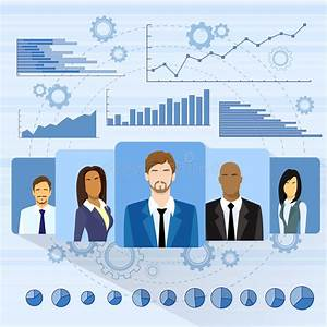 Business People Profile Icon Over Graph Set Stock Vector