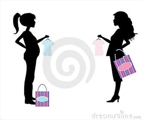 pregnant shopping woman silhouette stock photo image