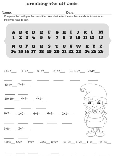 addition christmas code breaker worksheet break  elf